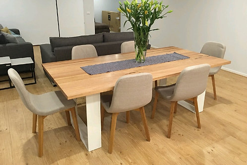 132. Messmate dining table with white metal legs