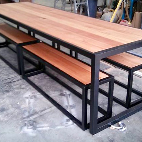 180. Vic Ash dining table and bench seats
