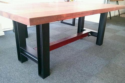 166. Ironbark dining table with H beam metal legs