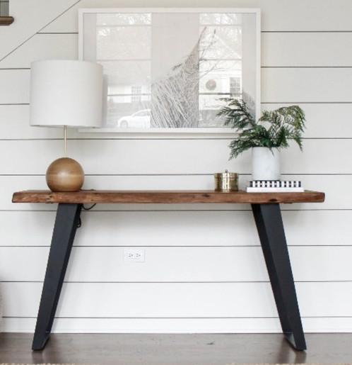 Metal Hall Table 36. oregon hall table with angled black steel legs | recycled