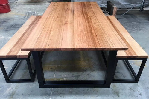 Tasmanian oak dining table with bench seats. AU$ 1,650.00