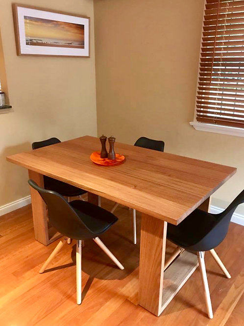 158. Tasmanian oak dining table with timber legs