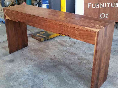 130. American walnut hall table with two draws