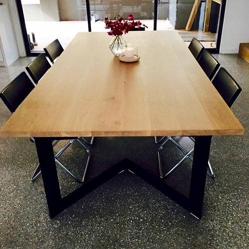 148. Tasmanian oak dining table with angled metal legs