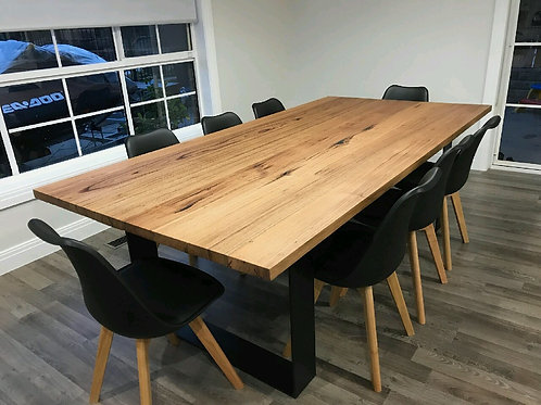 106.messmate dining table with flat bar metal legs