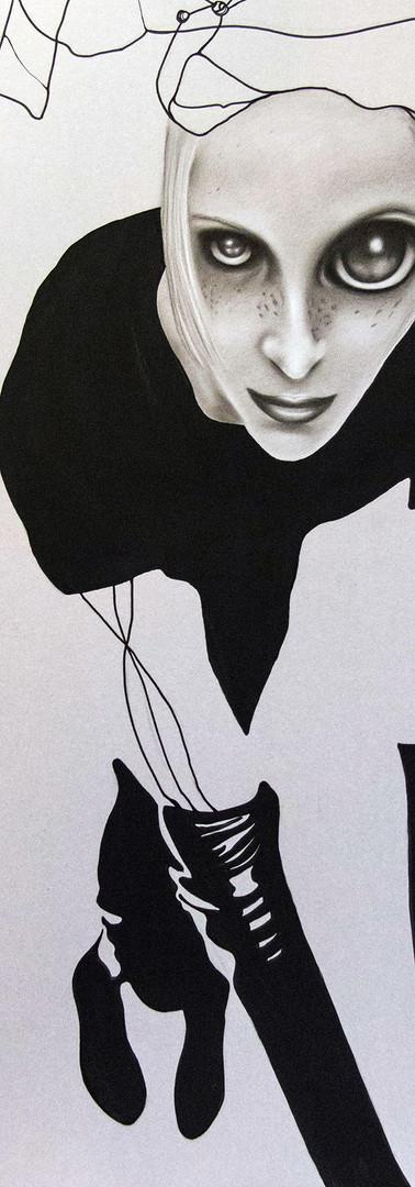 AGGUATO Pastello e china su cartone 70 cm x 100 cm, 2020