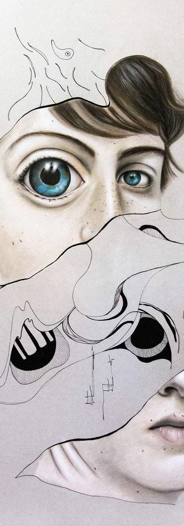 APOLLO DIVISO Pastello e china su cartone 70 cm x 100 cm, 2020