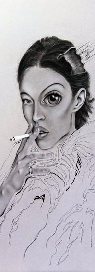 SMOKE AND LOST BRAIN Pastello e china su cartone 70 cm x 100 cm, 2020 (Collezione Privata)