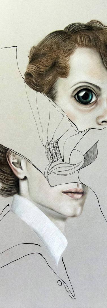 ERMES DIVISO Pastello e china su cartone 70 cm x 100 cm, 2020