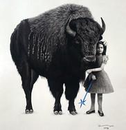 retrato con búfalo americano