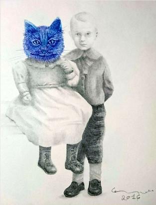 portrait with she-cat 2 / retrato con gata 2