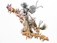 retrato con lechones