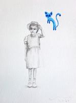 portrait with light cat / retrato con gato ligero