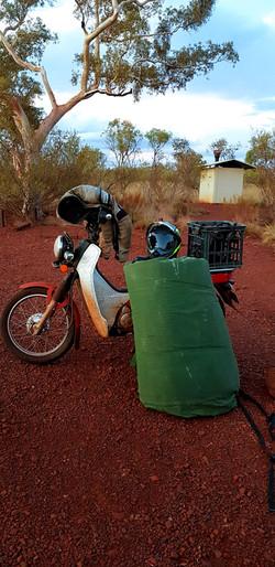 Iconic Australia postie bike an swag