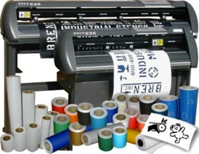 Computer controlled stencil cutting machine for cutting stencils or decals. Stencil mateial and stencil inks.