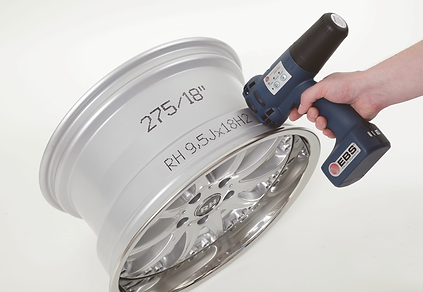 Traceability marking on a curved metal surface using the EBS 250 handheld inkjet printer from NCB Marking