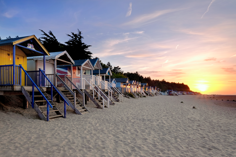 Wells Beach huts at sunset