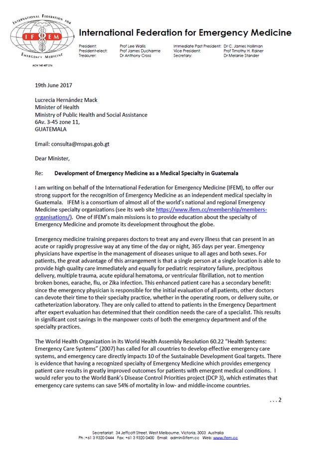 Carta de IFEM apoyando el desarrollo de la ME en Guatemala
