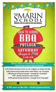 Join us for our Annual Back to School Barbecue and Potluck