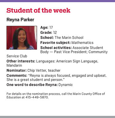 TMS Senior Reyna Parker is this week's Marin IJ Student of the Week