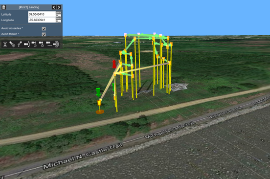 image shows a typical drone mission of a power line structure inspection mission.