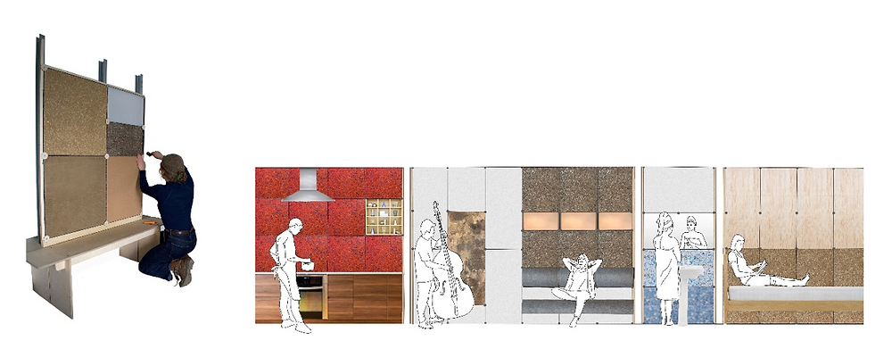 Two images of the prototype Plug'N'Wall that shows the many uses and possibilities for a modular wall system developed for the hackathon including in a kitchen, a practice room, a space for relaxing.