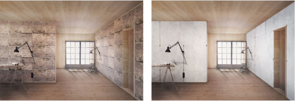 Two rendered images of a room: the first one shows the insulation and infill using sustainable materials and the second shows that the design for disassembly wall partitions that can cover the infill.