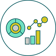 This image is a circle filled in with various symbols of metrics to represent indicators.