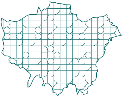 The image is a teal outline map of the city of London, United Kingdom. It is filled with a pattern of shapes of circles, squares, and squares with one rounded corner..png