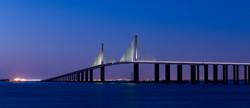 Sunshine-Skyway-Bridge,-Blue-Hour,-Eveni