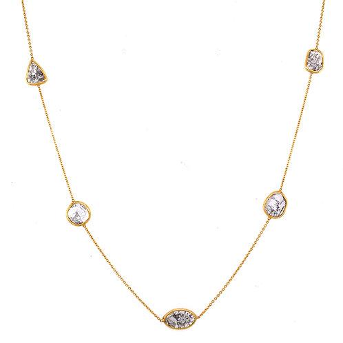 Diamond slice 18 k gold necklace