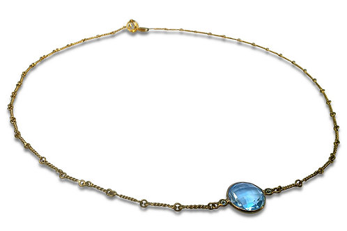 Blue topaz and diamond 18 karat gold necklace with hand made chain