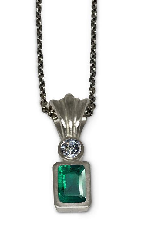 Platinum emerald and diamond necklace