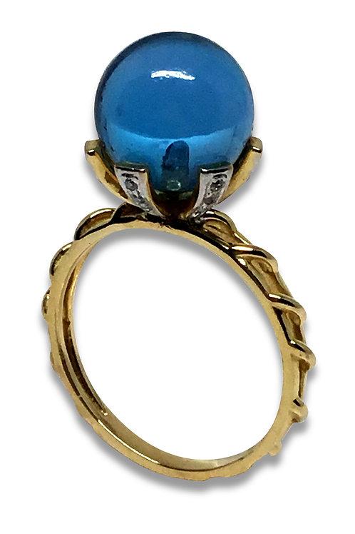 Blue topaz and diamond orb ring 18 karat gold