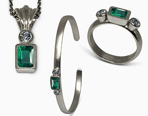 Platinum Collection with Emeralds and Di