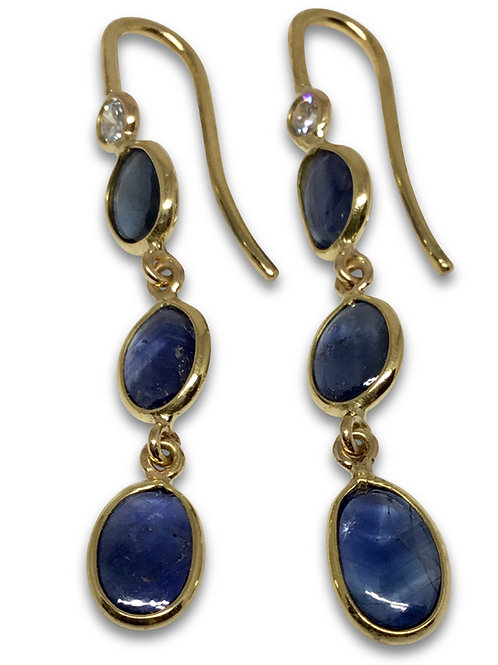 Sapphire and diamond dangle earrings 18 k gold