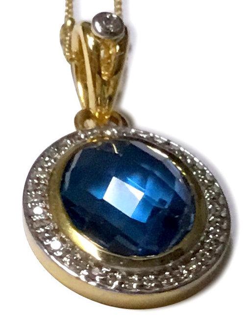 Blue topaz diamond halo 18 k pendant