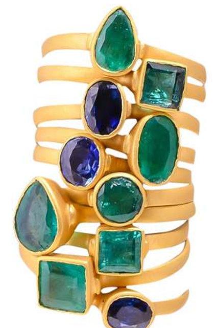 Sapphire, emerald or pink tourmaline stackable 14 k bezel ring