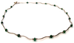 Emerald 14 karat gold necklace