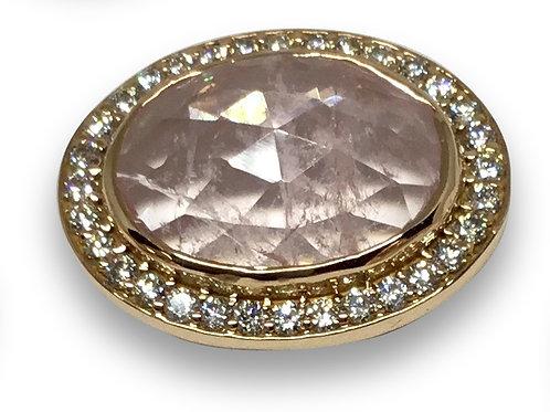 Morganite diamond halo 18 k rose gold pendant