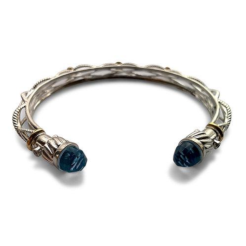 Diamond bangle bracelet with gem ends