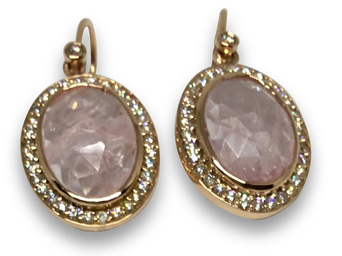 Morganite and diamond halo 18 k rose gold dangle earrings