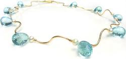 Blue topaz golden waves necklace