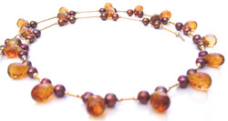 Citrine chocolate pearl necklace