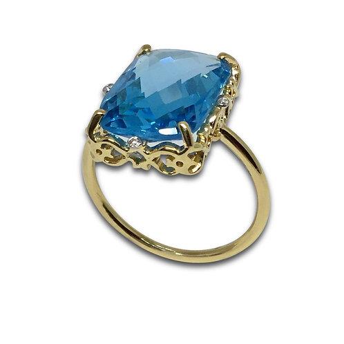 Blue topaz diamond scroll ring