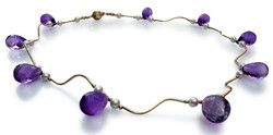 Amethyst golden waves necklace