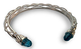BB SC 1008  SS Blue topaz  diamond bangl