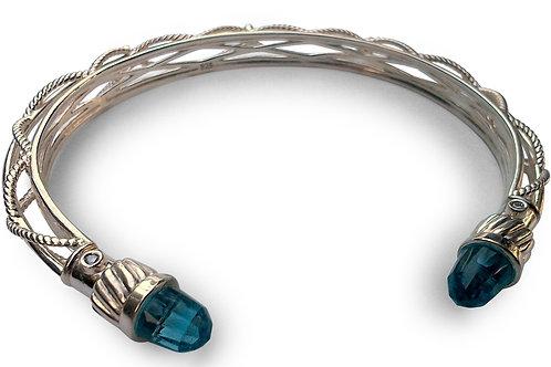 Diamond bangle bracelet with end gems