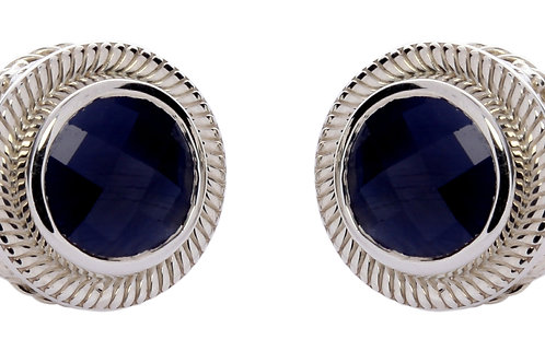 Blue sapphire platinum over silver post earrings