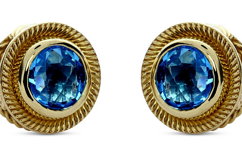 Blue topaz 18 karat gold post earrings